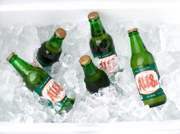 Bottles of Ale-8-One soda chill on ice