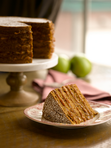 A slice of apple stack cake sits on a plate, with the rest of the cake behind it.