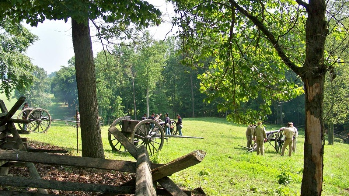 A Civil War reenactment at Mill Springs National Battlefield
