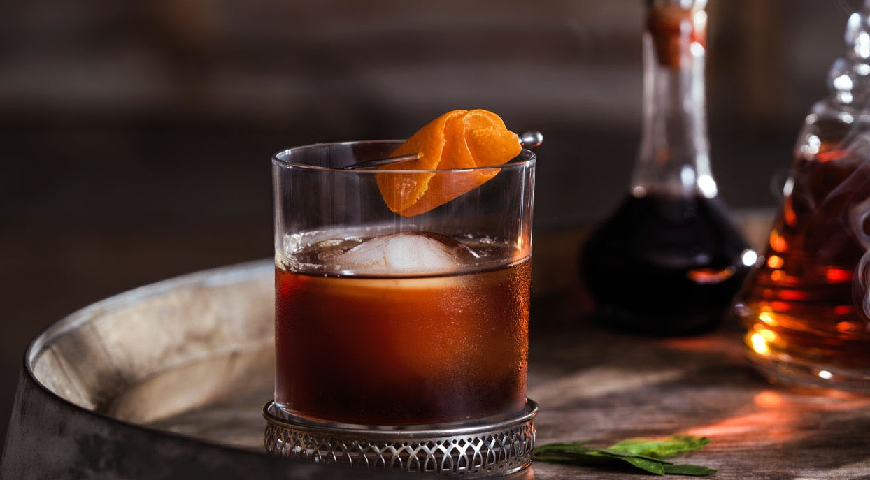 An Old Fashioned, a bourbon cocktail that originated in Louisville
