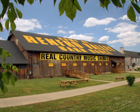 An exterior image of the barn at Renfro Valley Entertainment Center, one of Kentucky's most legendary music venues