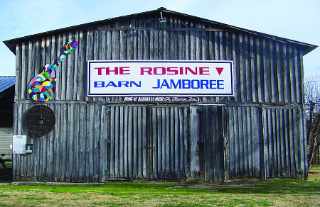 An exterior shot of the Rosine Barn Jamboree, a legendary live music venue in Western Kentucky