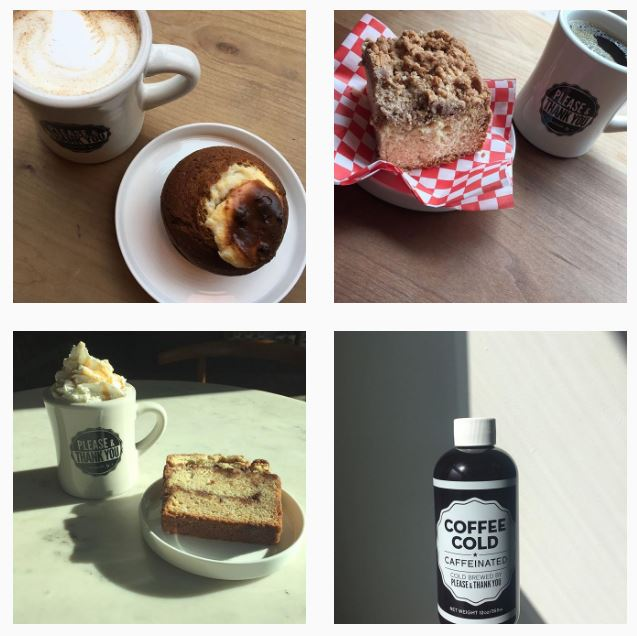 A collage of images showcasing Please and Thank You Coffee in Louisville