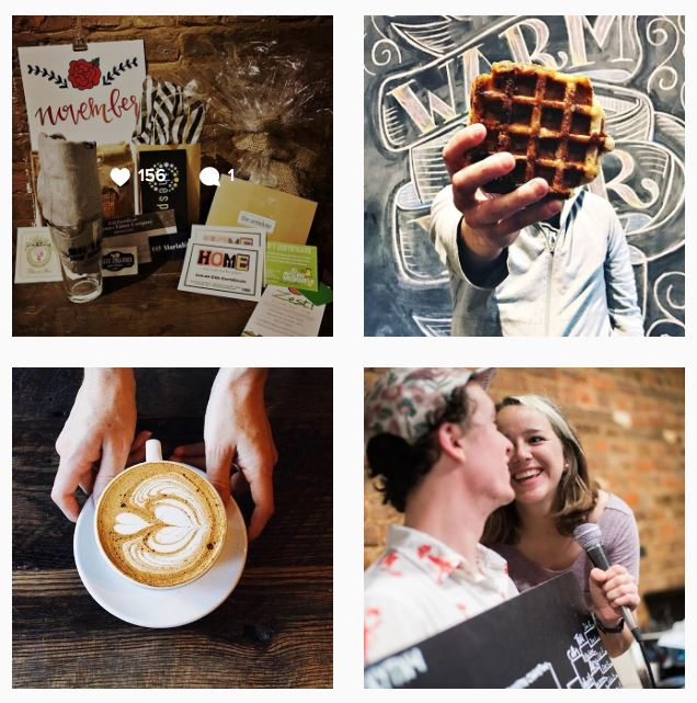 A collage of images showcasing Spencer's Coffee in Bowling Green