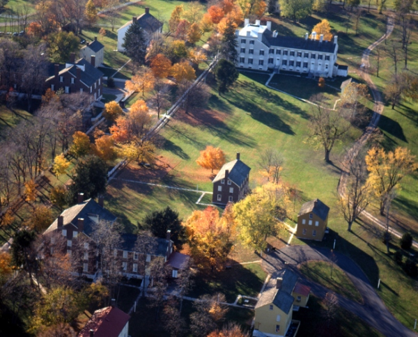 An aerial view of Shaker Village of Pleasant Hill