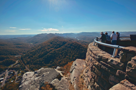 A sweeping shot of a mountain overlook at Cumberland Gap National Historical Park in Kentucky
