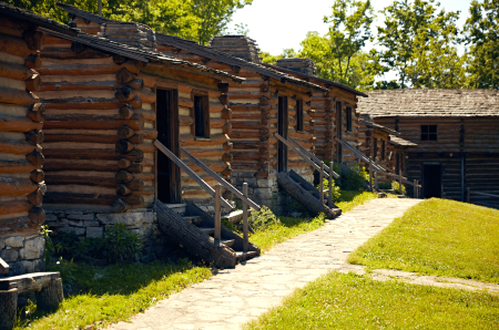 Historic log buildings at Old Fort Harrod State Park in Kentucky