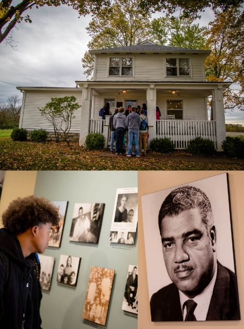 Collage showing exterior of Whitney M. Young, Jr. Birthplace, along with an exhibition inside