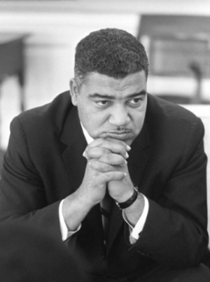 An archival black and white image of Civil Rights leader Whitney M. Young, Jr.