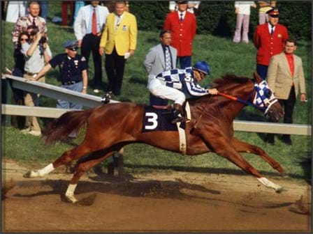 Secretariat runs the Kentucky Derby in an archival photo
