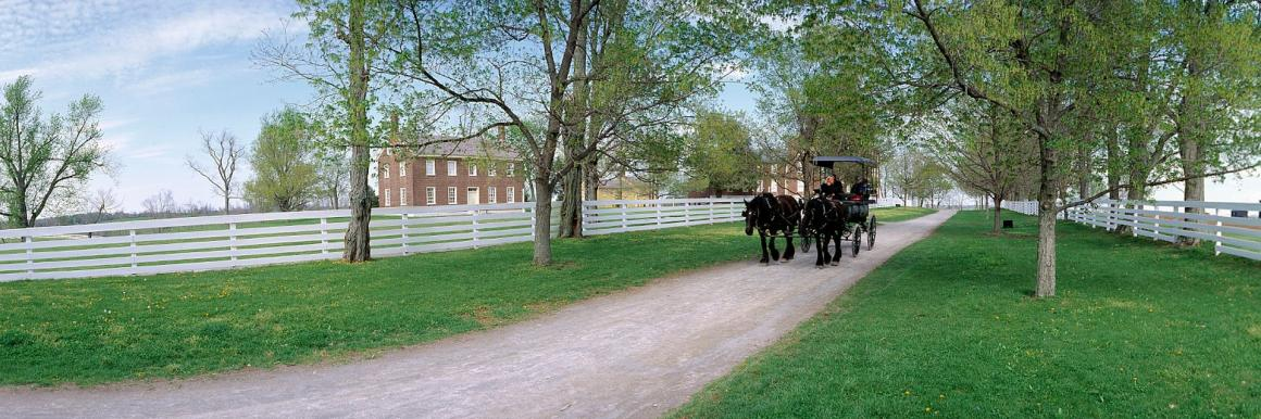 A horse-drawn carriage travels a historic dirt road at Shaker Village of Pleasant Hill