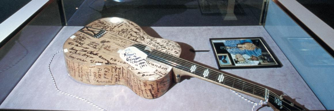 Signed guitar on display at the Highlands Museum in Kentucky