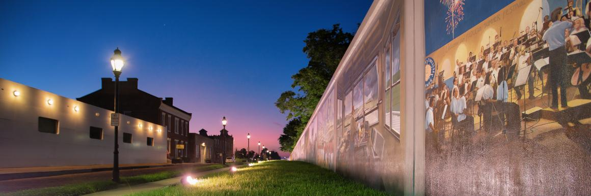 Paducah flood wall murals at night