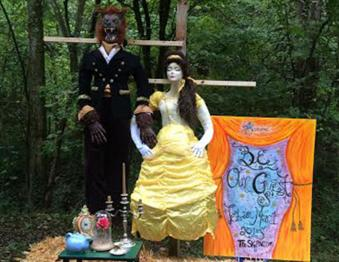 Scarecrows line the trails at Lost River Cave each October Photo