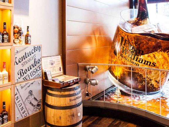 The inside of Evan Williams Bourbon Experience in Louisville