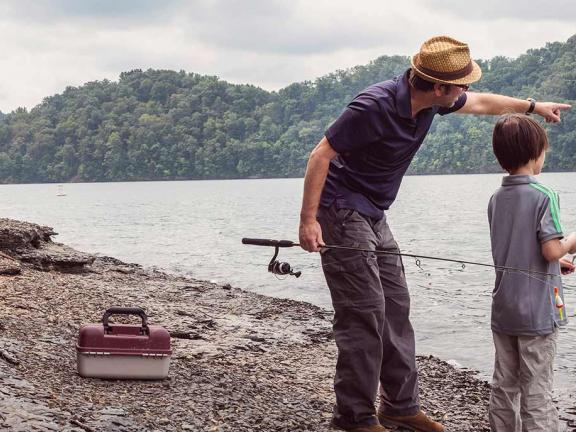 A father and son go fishing in Kentucky