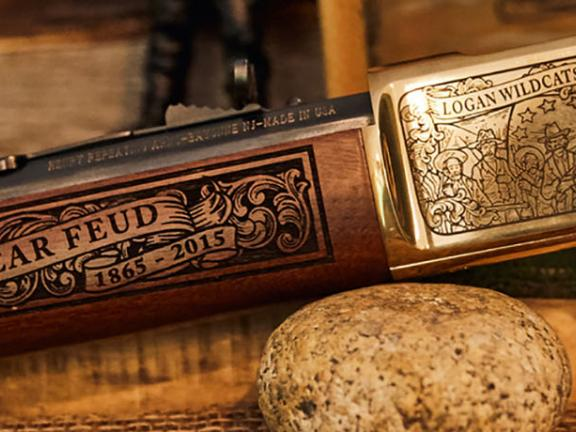 A gun is emblazoned with a Hatfield & McCoy logo