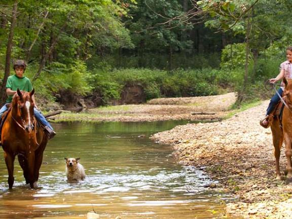 A family rides horses through a creek in Western Kentucky