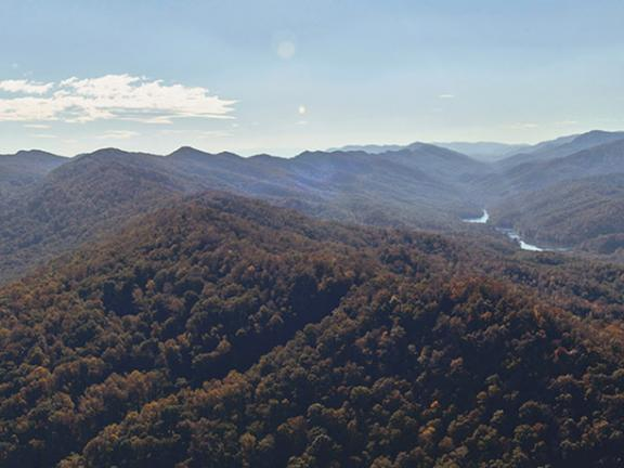 A scenic overlook offers sweeping mountain views at Cumberland Gap National Historical Park