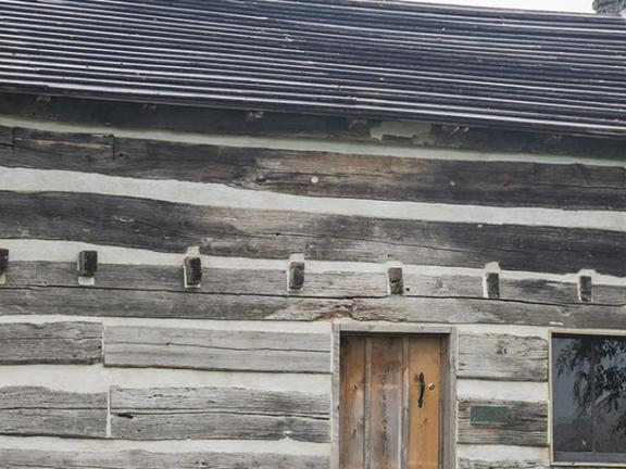 The Col. Charles Young Birthplace, a rustic log cabin