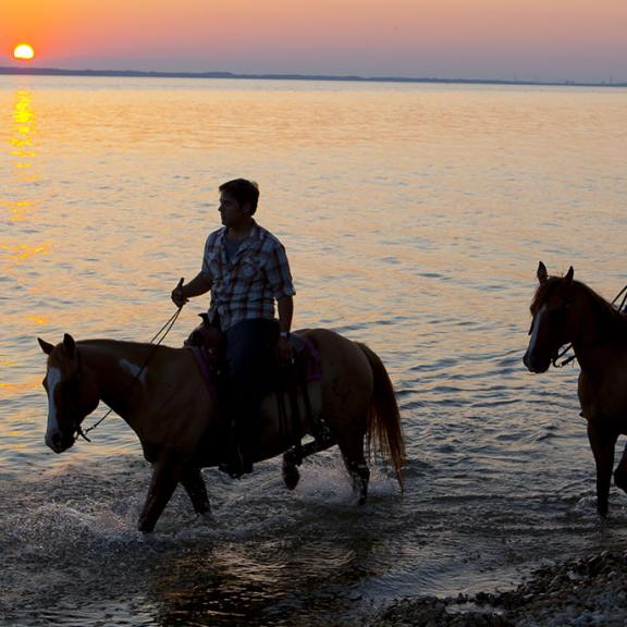 Two people ride horses along a Western Kentucky shoreline at sunset