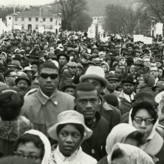 civil rights march protestors in 1964