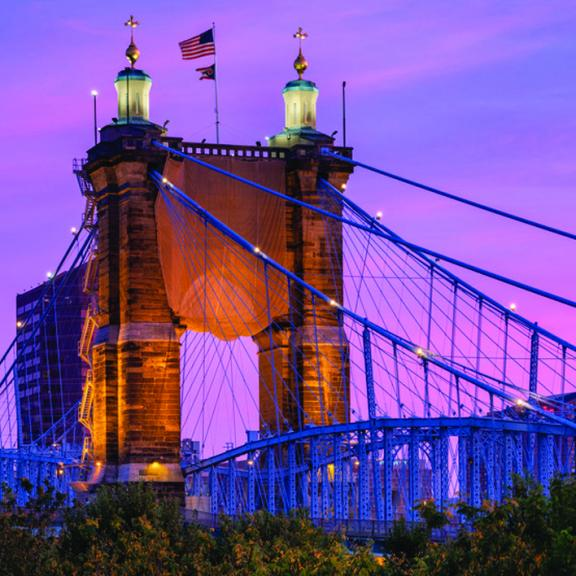 Roebling bridge at night