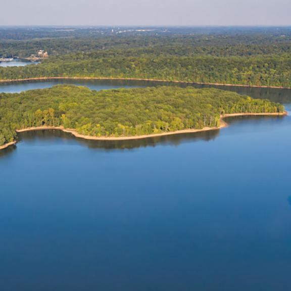 Aerial view of Land Between the Lakes in western Kentucky