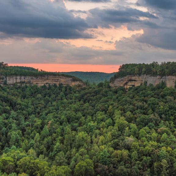 Overlook at sunset at Red River Gorge