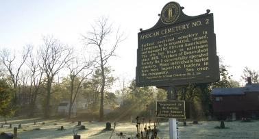 A historic marker at African Cemetery No. 2 in Kentucky