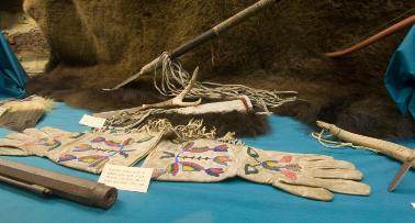 A display of Native American artifacts at the Trail of Tears Museum in Kentucky