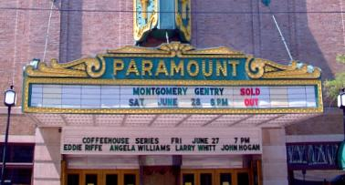 Exterior of the Paramount Arts Center marquee, in Ashland, KY