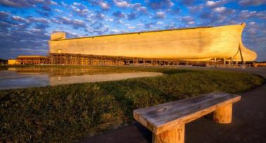 A panoramic shot of Kentucky's Ark Encounter, a life-size replica of Noah's Ark