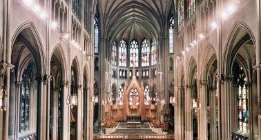 An interior shot of a dramatic cathedral in Louisville, KY
