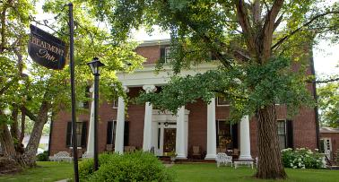Exterior view of the historic Beaumont Inn in Harrodsburg, KY