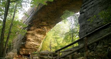 A dramatic shot of the underside of Kentucky's Natural Bridge