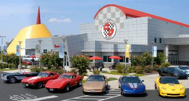 Corvettes parked in front of the National Corvette Museum in Bowling Green, KY