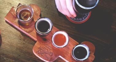 Brewgrass Trail beer flight overhead shot