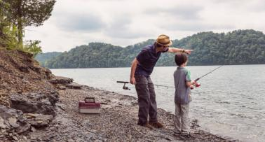 A man and his son go fishing at Dale Hollow Lake in Kentucky