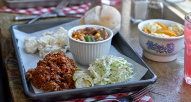 A tray of traditional Western Kentucky BBQ and sides