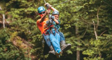 A father and son go ziplining in Kentucky