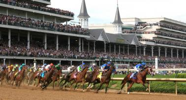 Horses racing at Churchill Downs in Louisville, Kentucky