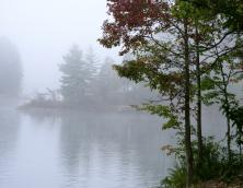 A foggy early morning on Dewey Lake. Photo