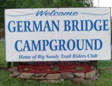 Welcome sign for German Bridge Campground. Photo