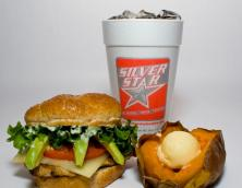 California-Style Chicken Sandwich, Sweet Baked Potato, and a Drink  Photo