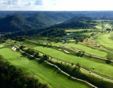 An aerial view of Stone Crest Golf Course located on a reclaimed strip mine in Prestonsburg, Kentucky. Photo