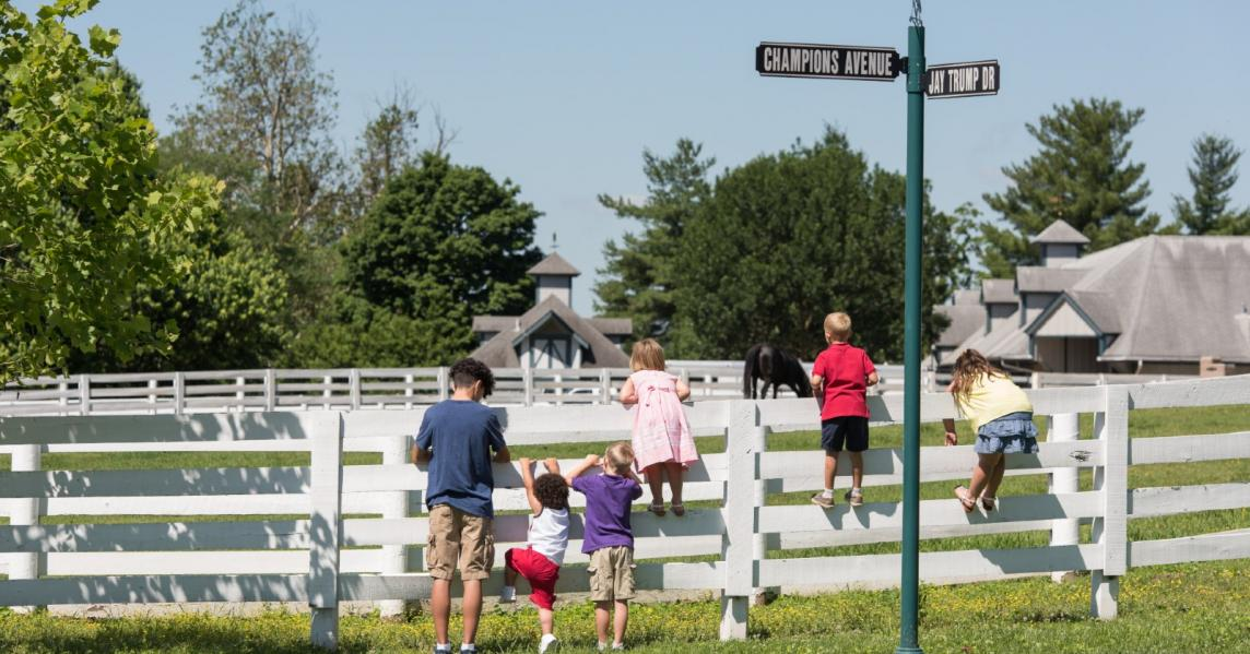 Kids climb on a horse fence at Kentucky Horse Park