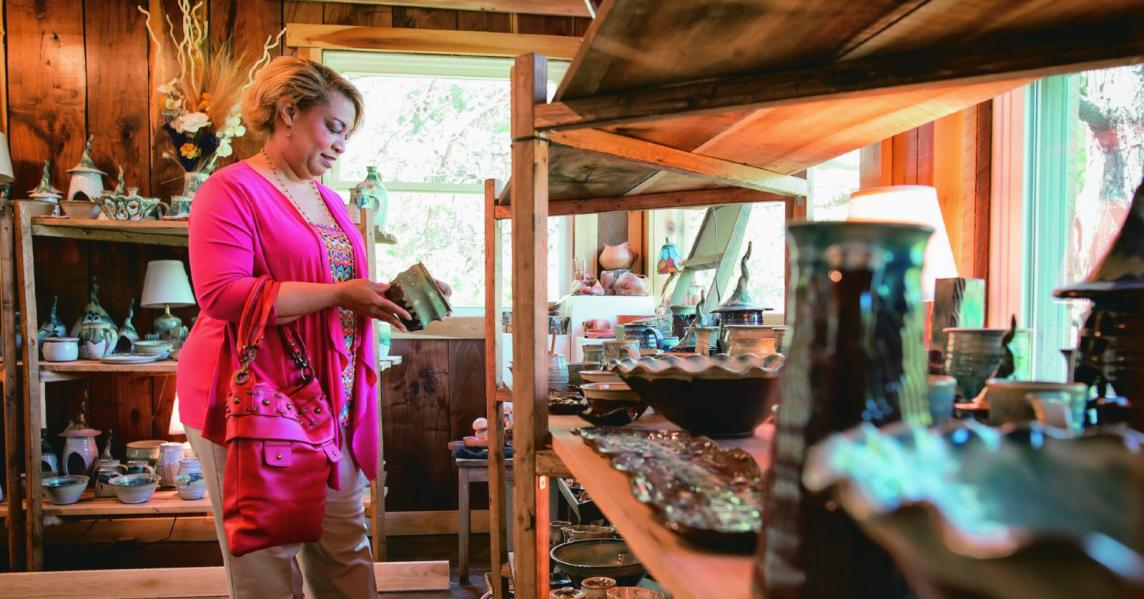 A woman shops at Kentucky's Tater Knob