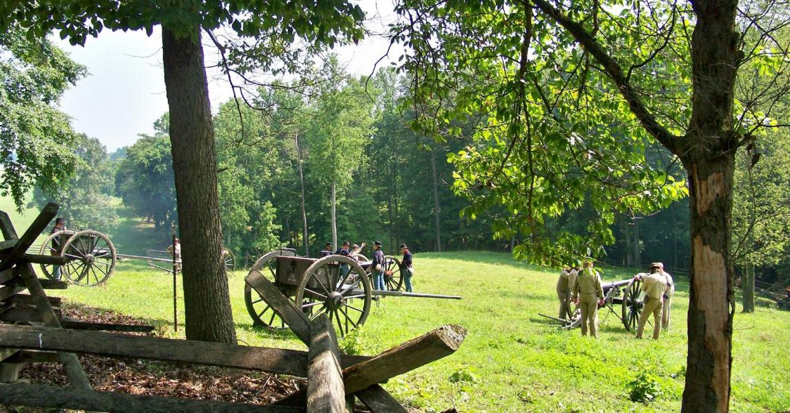 Civil War reenactors at Mill Springs battlefield in Kentucky
