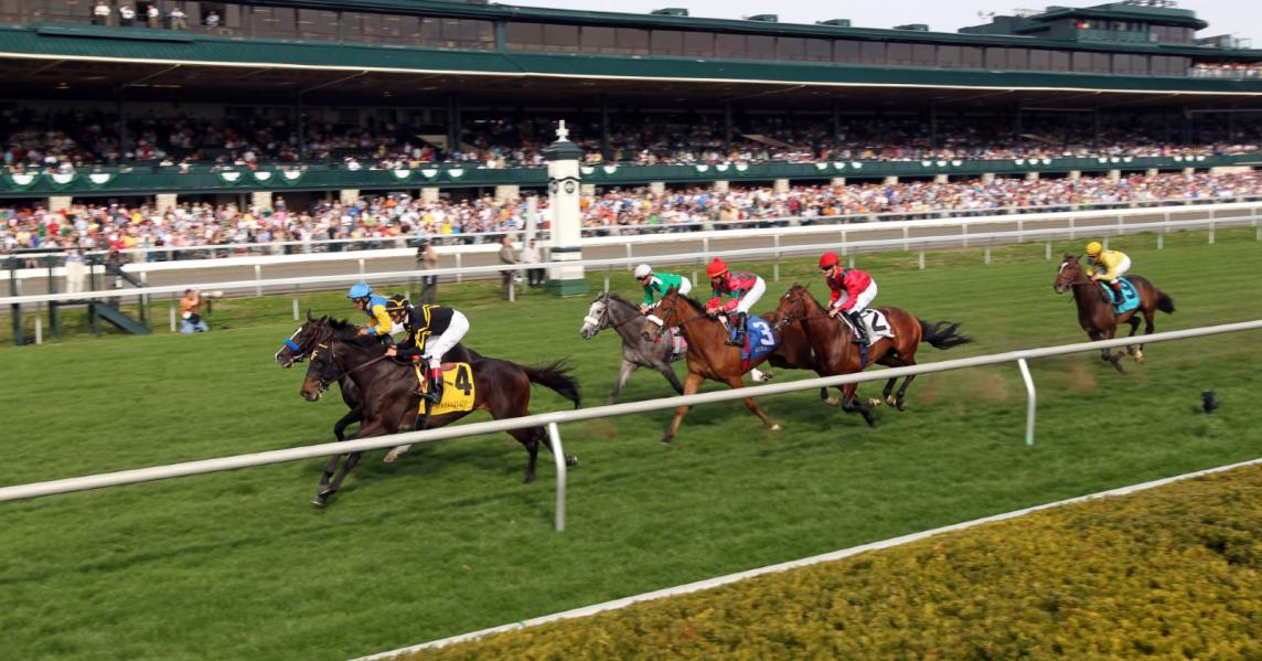 Horses race at Keeneland race track in Lexington, Kentucky
